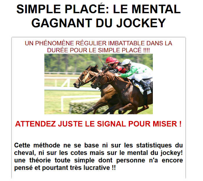 SIMPLE PLACÉ: LE MENTAL GAGNANT DU JOCKEY