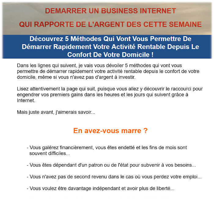 DEMARRER UN BUSINESS INTERNET